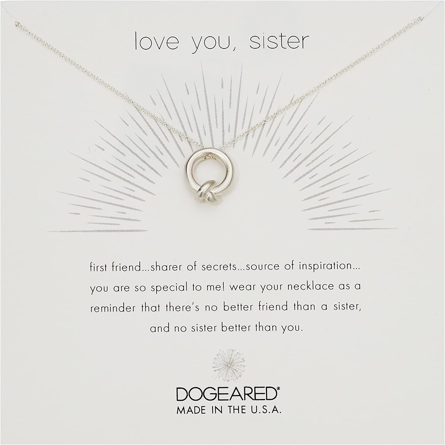 Dogeared depot Love You Sister Charm Necklace Boston Mall Knot Together