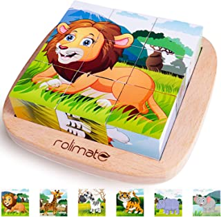 rolimate Wooden Block Puzzle - Lion Zebra Elephant Rhinoceros Tiger Giraffe, Educational Preschool Jigsaw Cube Puzzle Toys for Toddlers with Age 2 3 4 Years Old and Up