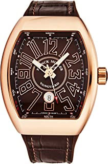 Franck Muller Vanguard Mens Stainless Steel 18K Rose Gold Swiss Automatic Watch - Tonneau Brown Face with Luminous Hands, Date and Sapphire Crystal - Brown Leather/Rubber Strap V 45 SC GLD BRN GLD BR
