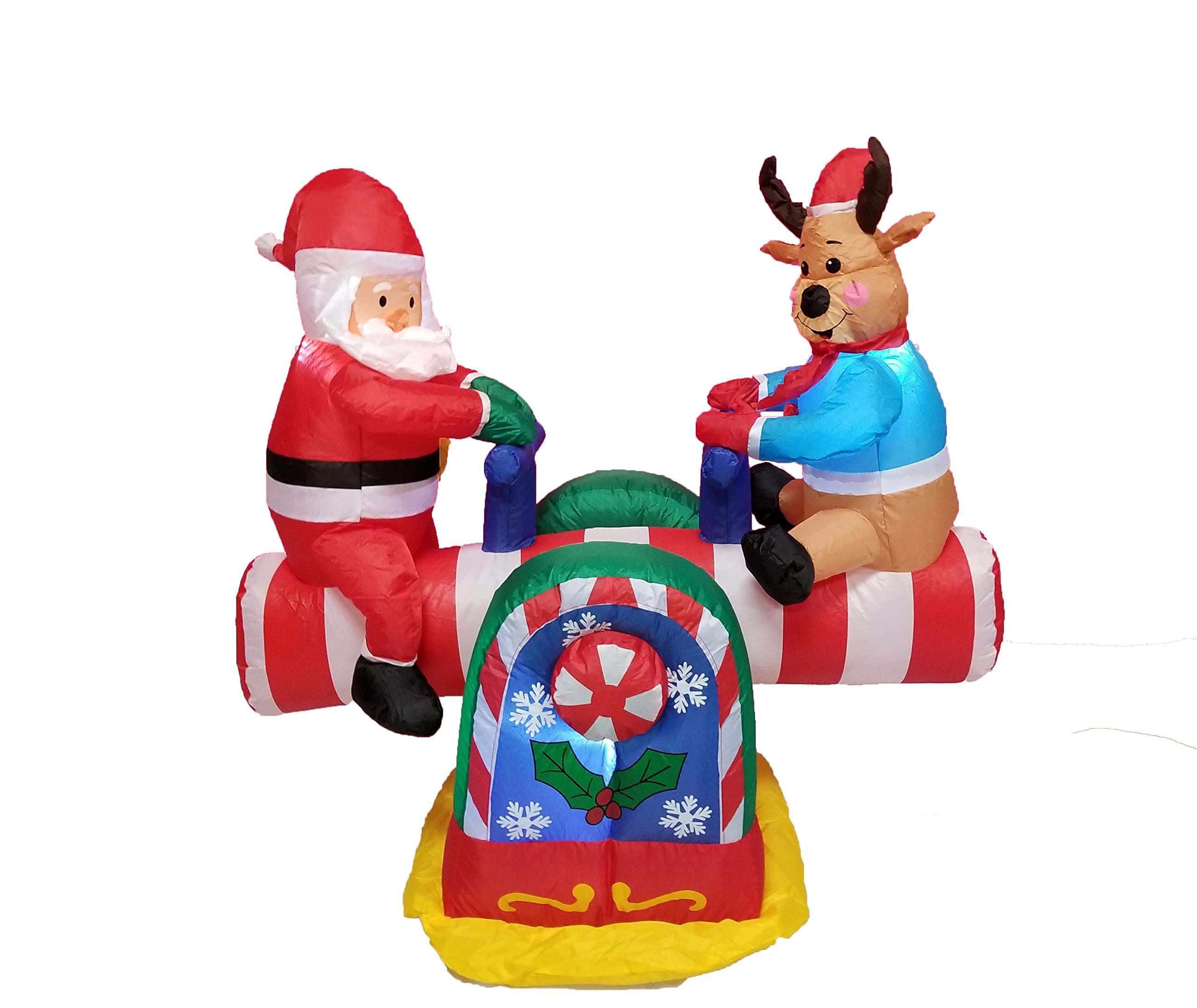 Amazon Com Bzb Goods 4 Foot Animated Christmas Inflatable Santa Claus And Reindeer On Teeter Totter Outdoor Yard Decoration Home Kitchen
