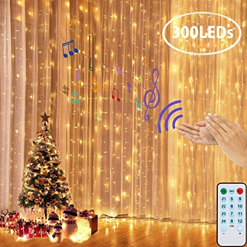 Curtain Lights Voice Activated LEDGLE Twinkle String Lights 300 LED Fairy Window Decorative Dimmable Christmas Lights...
