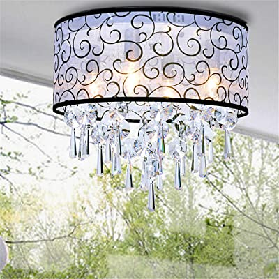 Glighone Lámpara Colgante Cristal 4*E14 40W Lámpara de Techo Luz Moderna Lámpara de Araña
