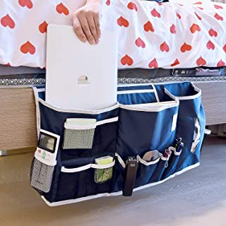 Bedside Caddy, Bedside Storage Organizer Home Dorm Room Mattress Sofa Table Cabinet Bed Caddy Storage Organizer with 14 Pockets for Laptop Tablet Pad Phone TV Remotes Magazine Books - Navy Blue