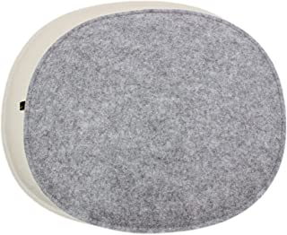 Luxflair Juego de 4 Cojines ovalados de Fieltro Color Crema Blanco/Gris Moteado. Cojín de Asiento Moderno para sillas de d...