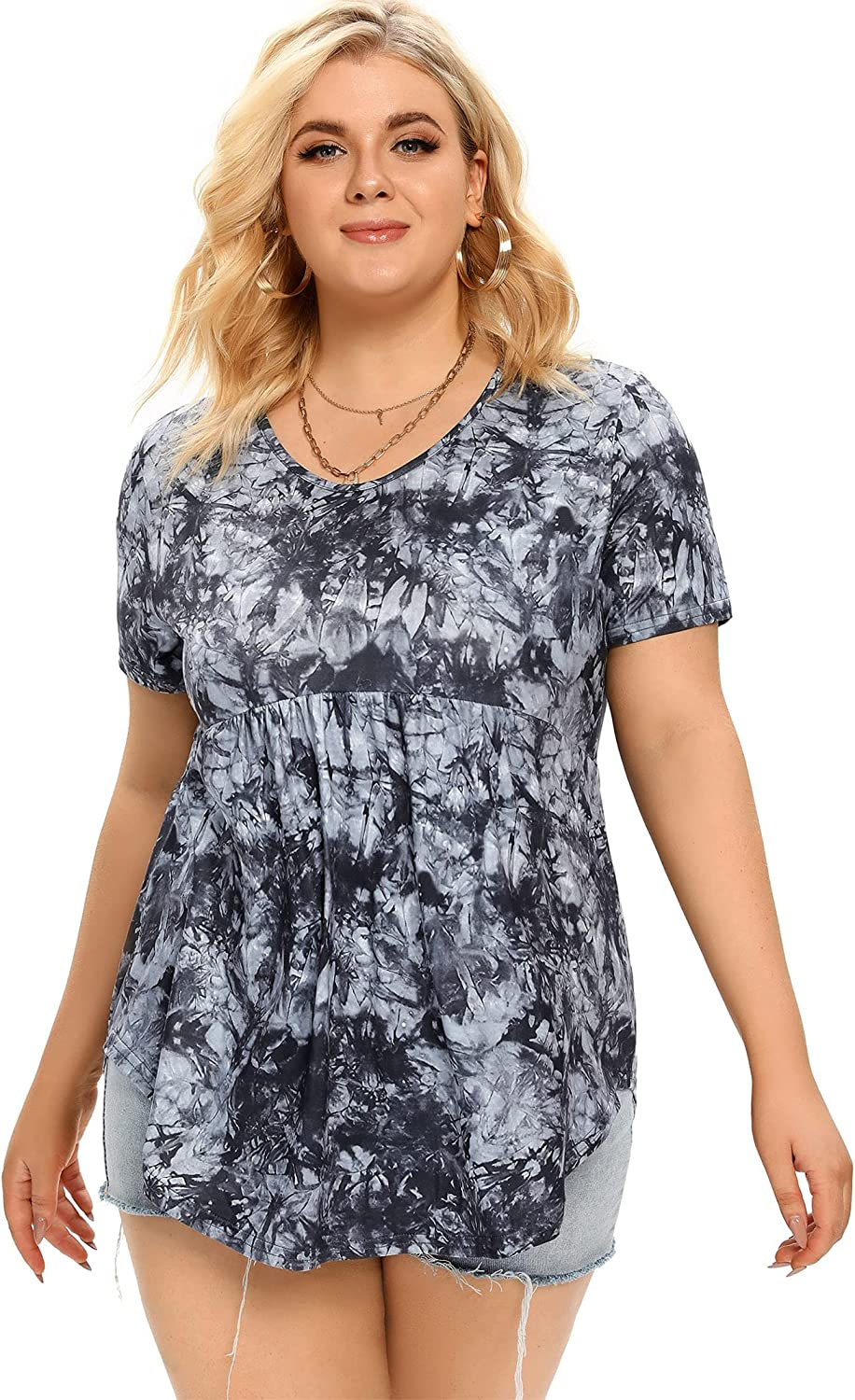 AMZ PLUS Women Plus Size Pleated Tunic Tops Round Neck Loose Blouse Flowy Casual Shirt