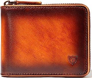 RFID Men's Leather Zipper wallet Zip Around Wallet Bifold Multi Card Holder Purse (Handmade Brown)