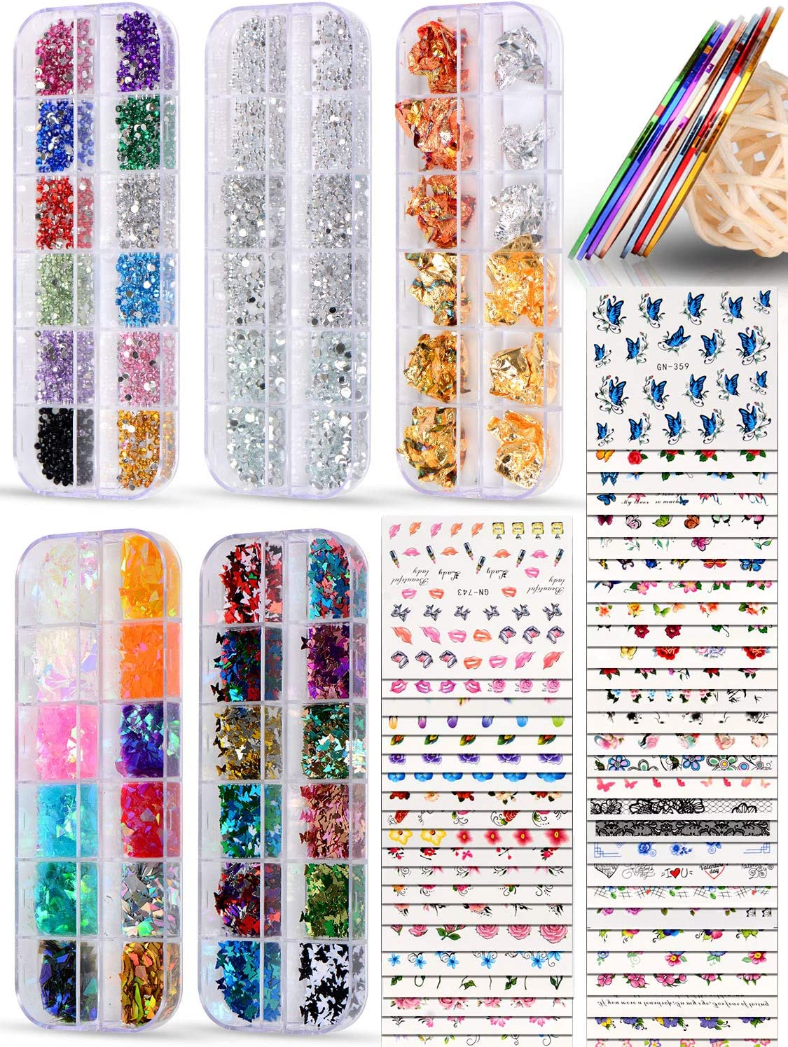 Spearlcable Nail Art Decoration Kit,50 Sheets Nail Stickers Crystal Rhinestones Set Holographic Butterfly Glitter Nail Foil Nail Tape Strips Iridescent Nail Sequins Flake for Acrylic Nail Art: Kitchen & Dining