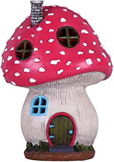 TERESA'S COLLECTIONS Mushroom Fairy Garden House Statue Accessories with Solar Light,Fairy Garden Cottage Figurines Sculpt...