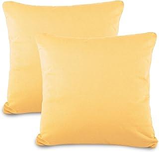 aqua-textil Classic Line 0011469 - Juego de 2 Fundas de Almohada (80 x 80 cm, con Cremallera), Color Crema y Amarillo