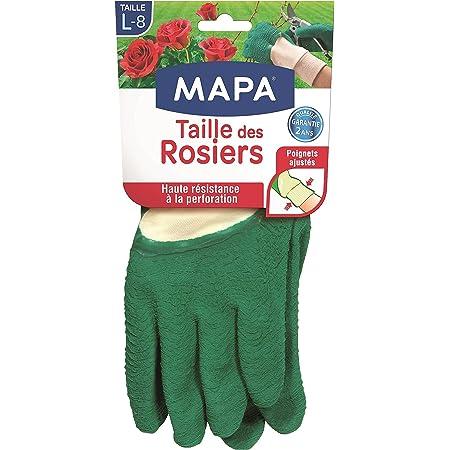 Mapa - Taille des Rosiers - Gants de Jardinage En Latex avec Textile 100% Coton - Anti-Perforation - Idéal pour La Taille des Épineux - Taille 8/L