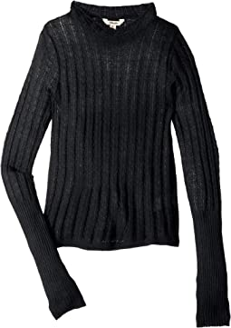 Long Sleeve Pointelle Knit Tee (Big Kids)