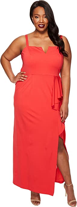 Plus Size Jersey Front Cascade Gown