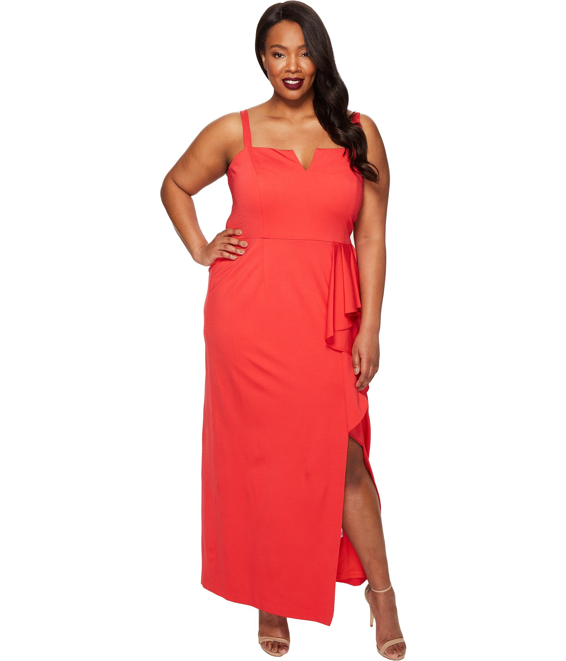 ADRIANNA PAPELL PLUS SIZE JERSEY FRONT CASCADE GOWN, HOT TOMATO ...