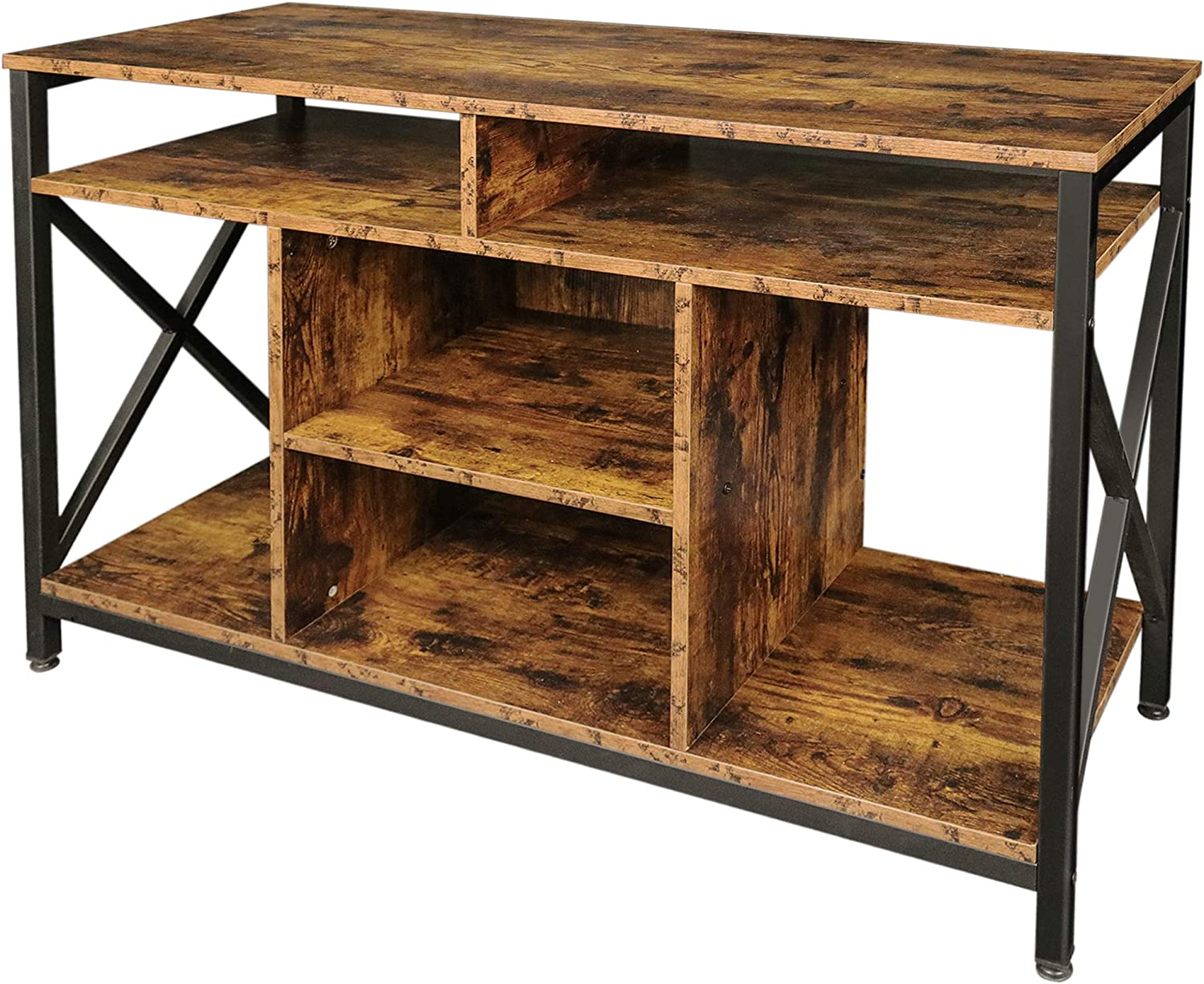 Becko US Farmhouse TV Stand TV Console Table with Storage Shelves for TVs up to 50