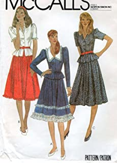 Mccalls 7867 Sewing Pattern for Fitted Bodice Button Front Peplum Top V-neck or Collar, with Gathered to Waistband Skirt with Flounce or Trims Options , Back Zip ,