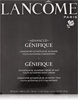 Lancome Advanced Genifique Youth Activating Skin Care Power of 3 All Skin Types, crema de noche 1.7 oz, crema de ojos 0.5 & Youth Activating concentrate 1.69 oz.