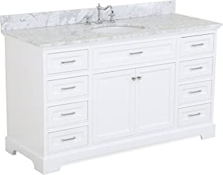 Aria 60-inch Single Bathroom Vanity (Carrara/White): Includes a White Cabinet with Soft Close Drawers, Authentic Italian Carrara Marble Countertop, and White Ceramic Sink