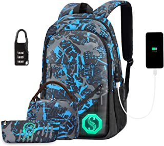 School Backpack for Boys, Water Resistant Anti Theft Laptop Backpack Fashion School Bags with USB Charging Port, Lock, Lunch Bag and Pencil Case