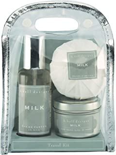 K Hall Milk 3-Piece Travel Gift Set, Includes Eau de Parfum, Bath Bomb, and Candle
