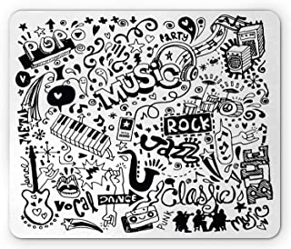Ambesonne Hipster Mouse Pad, Music Themed Motif with an Abstract Drawing Rock Jazz Blues Genre Classic Dancing, Rectangle ...