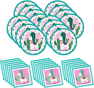 Cactus Disposable Plates and Napkins Serves 16 - Tropical Llama Tableware Kit for Cinco De Mayo Party and Boho Birthday Parties