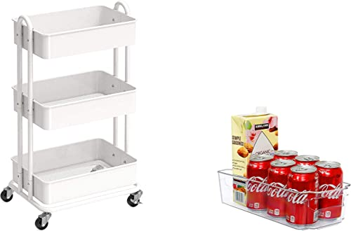2021 SimpleHouseware Heavy Duty outlet sale 3-Tier Metal Utility new arrival Rolling Cart + Plastic Kitchen Organizer online