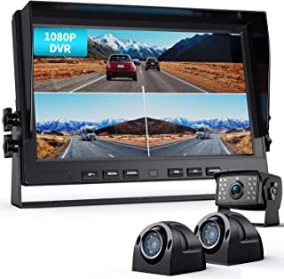 Fookoo Ⅱ 10' 1080P Wired Backup Camera System Kit,10' HD Triple Split Screen Monitor with Recording IP69 Waterproof Rear View Side View Camera Parking Lines for Truck/Semi-Trailer/Box Truck/RV(DY103)