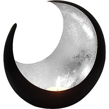 Farol portavelas Oriental de Metal - Candelabro para el jardín - Decorativo para la Mesa - Moon Plata - transmite Buen Ambiente - Pasa un Buen rato en el jardín: Amazon.es: Hogar