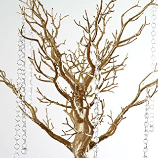 BalsaCircle 30 inch Tall Gold Glittered Manzanita Tree with Acrylic Garlands - Wedding Decorations Tabletop Home Decor Centerpieces Party Supplies