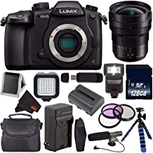 Panasonic Lumix DC-GH5 Mirrorless Micro Four Thirds Digital Camera DC-GH5KBODY (International Version) + Panasonic 8-18mm f/2.8-4 Lens + Battery + Charger + 128GB SDXC Card + Carrying Case Bundle
