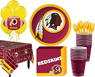 Party City Washington Redskins Super Party Supplies for 18 Guests, Include Plates, Napkins, Table Cover, and Balloons