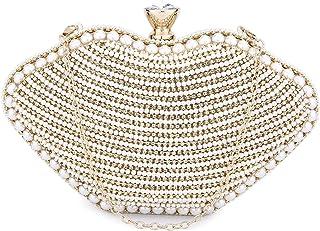 UBORSE Clutch Gold Glitzer Clutch Beige Perlen Desigual Tasche Kleine Handtasche Damen Ketten Abendtasche für Hochzeit Par...