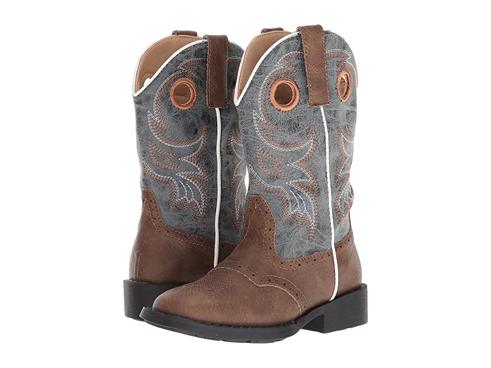 Roper Kids Daniel (Toddler/Little Kid) (Brown Faux Vamp/Blue Shaft) Cowboy Boots