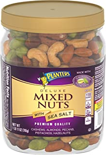 PLANTERS Deluxe Mixed Nuts with Sea Salt, 27 oz. Resealable Container | Variety Mixed Nuts Snacks with Cashews, Almonds, Pecans, Pistachios & Hazelnuts | Kosher