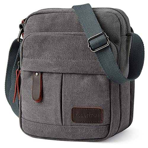Koolertron Men Shoulder Bag Small Retro Canvas Satchel Zipped Unisex  Lightweight Long Strap Crossbody Travel Messenger 4f711e6391b8d