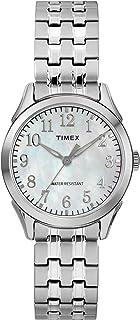 ساعة يد بسوار قابل للتمديد من الستانلس ستيل باللون الفضي برياروود Tw2R48300 للنساء من تايمكس