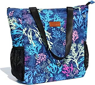 Original Floral Water Resistant Large Tote Bag Shoulder Bag for Gym Beach Travel Daily Bags Upgraded ([Z] Coral)