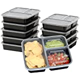 10 Pack - SimpleHouseware 3 Compartment Food Grade Meal Prep Storage Container Boxes (36 ounces)
