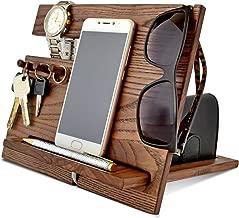 Wood Phone Docking Station, Ash Desk Organizer, Tablet Holder, Key Hooks, Coin, Wallet, Watch Stand, Handmade Men Graduation Gift, Husband Anniversary