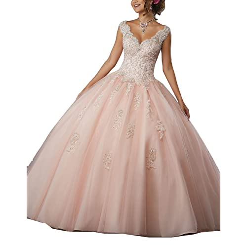 b3124a941ca1 Gemila Women's Lace Applique Beaded Sweet 16 Ball Gown Quinceanera Dress