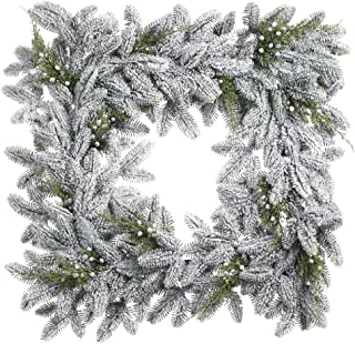 Snow Noble Fir Juniper Square 22 Inch Artificial Decorative Hanging Christmas Wreath