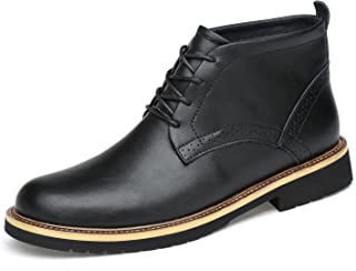 Men's Leather Classic Chukka Boots Lace up Black
