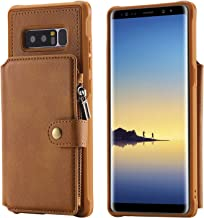 Samsung Galaxy Note 8 Case,Zipper Leather Card Cash Slot Large Capacity Protective Cover Durable Shell Kickstand Men Women Brown
