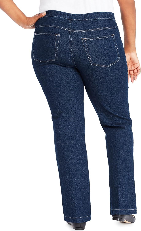 Just My Size Bootcut 4 Pocket Pull On Stretch Blue Jeans (Regular & Petite) (4X Plus Petite, Indigo Denim)