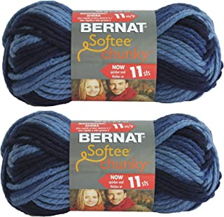 Bernat Softee Chunky Yarn 2-Pack Super Bulky #6 Each 2.8 Ounce 100% Acrylic large blue 161129