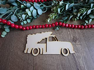Christmas truck and tree wood cutout, unfinished wooden crafts