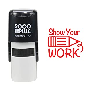 Custom Product Solutions Show Your Work for Students 2000 Plus Self Inking Rubber Teacher Stamp – Red Ink
