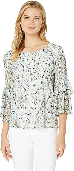 Printed Lace Ruffle Sleeve Top