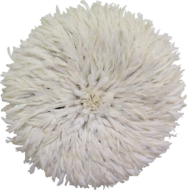 Old World Shoppe Large White Juju Hat Wall Decor Feather Headdress 31 Diameter
