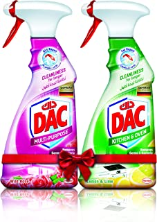 DAC Trigger Multi-Purpose Cleaner Spray - Rose (500ml) + Kitchen Cleaner Lime (500ml) - Pack of 2, for Germs and Bacteria ...